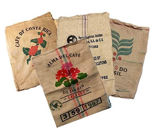 BlendNature Säcke aus Jute, groß aus recyceltem Kaffee - Ideal für Garten Dekoration Basteln - 100% ökologische Sackleinen Vintage - Packung mit 4 Stück von 70 x 100 verschiedenen Designs.