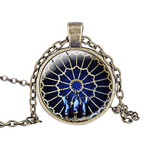 UINGKID Kette Damen Halskette Schmuck Anhänger Ausverkauf Rosen-Fenster Glasmalerei de Paris Kathedrale ()