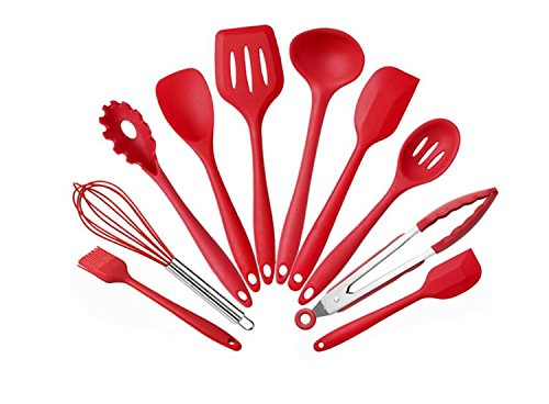Silikon Geschirr 10 stücke Antihaft Kochgeschirr Set Grün Küche Werkzeuge Backenwerkzeuge Farbe Boxed Geschenke (Rot Schwarz) ( Color : Rot ) (10 Stück Grün Kochgeschirr-set)