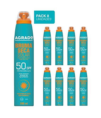 Agrado Bruma Seca Solar SPF 50 Aerosol - 1 Paquete de 8 x 200 ml- Total: 1600 ml