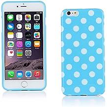 "Kit Me Out ES Funda de gel TPU para Apple iPhone 6 Plus 5.5"" pulgadas - Azul, Blanco Lunares"