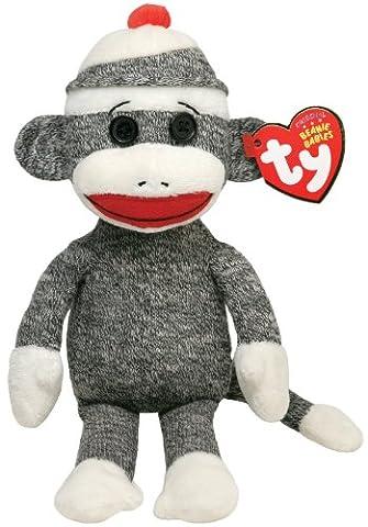 TY 40905Socks–Sock Monkey Beanie Babies, 15cm, Grey
