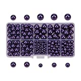 PandaHall Elite Purple Glass Pearl Round Beads 4,6,8,10mm Various Size Multicolor Lot Box Set with Container Value Pack (About 400 pcs)