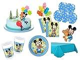 XXL Party Deko Set mit Torten Deko 1.Geburtstag Mickey Baby Kindergeburtstag Partygeschirr Kuchen Deko für 8 Personen blau Junge