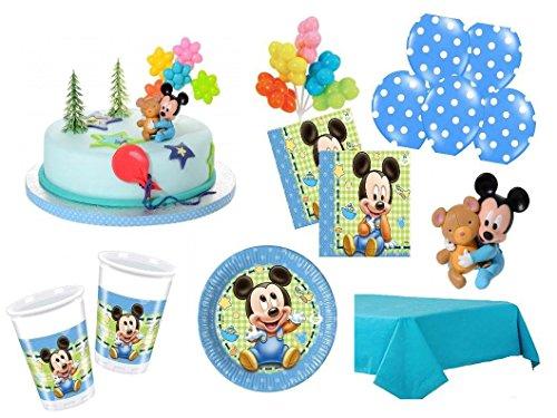 XXL Party Deko Set mit Torten Deko 1.Geburtstag Mickey Baby Kindergeburtstag Partygeschirr Kuchen Deko für 16 Personen blau Junge