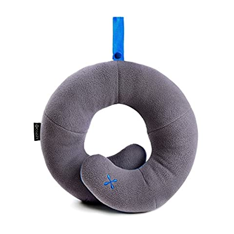 BCOZZY Kids Chin Supporting Travel Neck Pillow - Supports the Head, Neck and Chin in Maximum Comfort. A Patented Product. (CHILD Size, GRAY)