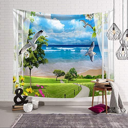 xkjymx Duschvorhänge Blumen Duschvorhang 3D Bad Meer Natur Tapisserie Strand Landschaft wie draußen