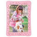 Valery Madelyn Father's Day Children's Day Cute Photo Frames, Pink Wooden Picture Frames with Detachable Doggie Stand for Kids and Dogs Gifts, Holds 3.5x5 Inch Photo (Alaskan Malamute)