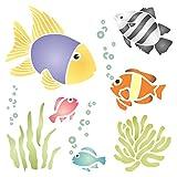 Schablone mit Meeresmotiv: tropische Fischen, Algen, Wasserblasen und Korallen; geeignet für Wandprojekte, Scrapbooks, Wände, Böden, Stoff, Möbel, Glas, Holz und vieles mehr, wiederverwendbar L