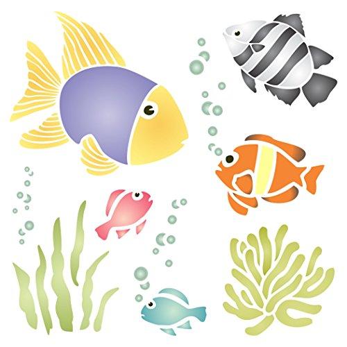 Tropische Fische Schablone, wiederverwendbar, Fisch Algen Corel Kelp Seetang Bubbles Wandbild–Vorlage, auf Papier Projekte Scrapbook Tagebuch Wände Böden Stoff Möbel Glas Holz usw. L