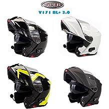 Viper V-151 BL+ Casco Moto Bluetooth Casco Modulare Touring Casco, Nero Lucido (M)