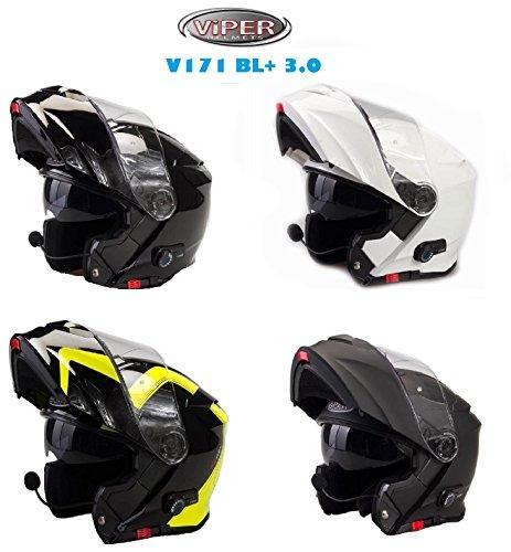 Viper V171 BL+ Nuovo Casco Moto Bluetooth Casco Modulare Touring Casco, Nero Lucido (M)