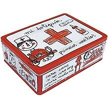 Laroom Caja Metálica, Metal, Rojo, Blanco