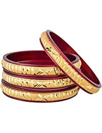 The Luxor Maroon And Golden Bangles For Women ( Set Of 4 Bangles )