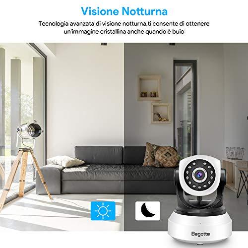 Bagotte HD 720P Telecamera Sorveglianza Wifi Interno, Videocamera IP Wireless Camera, Visione Notturna a Infrarossi , Audio Bidirezionale, Sensore di Movimento Pan/Tilt, Compatibile con iOS & Android - 6