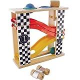 #1118 Kugelbahn aus Holz inklusive Auto, 2 Kugeln und Hammer - Auto Rennbahn Hammerspiel Murmelbahn Motorik Spiel Lern Spielzeug
