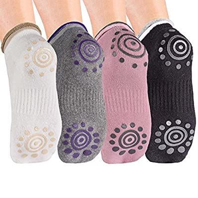 Body & Mind Damen Yogasocken rutschfest für Yoga, Pilates, Aerobic und Fitness-Training; Stoppersocken (4 Paare)