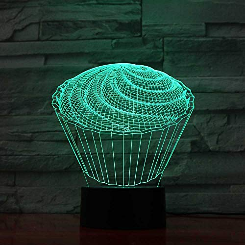 YDBDB Nachtlicht 7 bunte Baby Schlafzimmer Schlaf Dekor 3D führte die Spirale Kuchen Tischlampe Kinder Spielzeug Geschenke Nachtlichter Nachttisch Dessert Leuchten