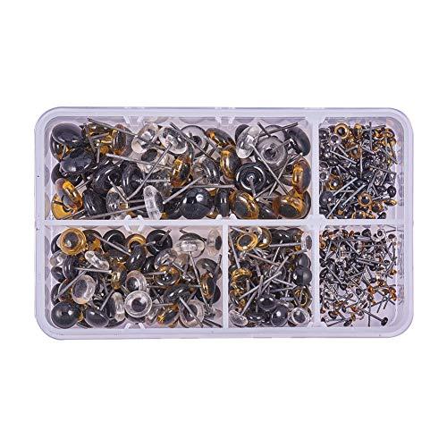 PandaHall 390 Stück 3 Farbe 5 Größe Glaspuppenaugen zum Nadelfilzen Trägt Puppen Lockvögel Nähhandwerk (3 mm), 4 mm, 6 mm, 8 mm, 10mm (Für Puppen Glasaugen)