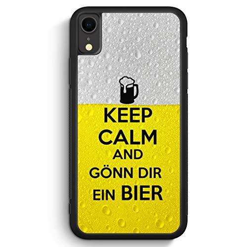 Keep Calm and Gönn Dir EIN Bier - Silikon Hülle für iPhone XR Cover - Motiv Design Spruch Cool Lustig Jungs Männer Herren Witzig - Handyhülle Schutzh -