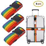 Schneespitze 6 pezzi Cinghia Regolabile,Strap Bagagli Viaggio,Cinghie Bagagli Cinture Per Valigie Arcobaleno Luggage Straps per i viaggi, valigia