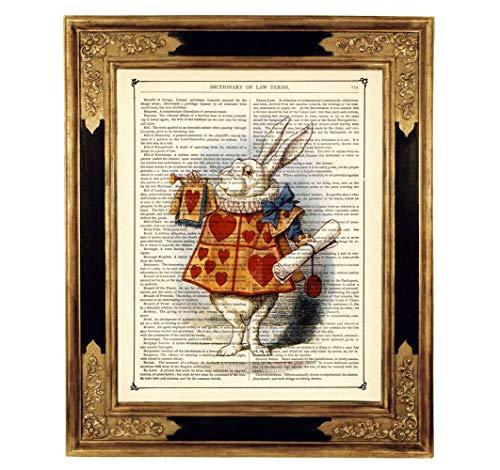 Kaninchen Kostüm Handmade - Alice im Wunderland weißes Kaninchen Poster Kunstdruck auf antiker Buchseite Geschenk Steampunk Bild ungerahmt