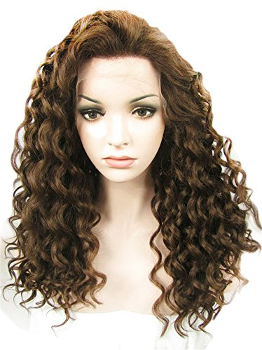 Natural Brown Color 6/8# Afro Curly Fashion Supermodel Hairstyles Synthetic Lace Front Hair Wig by (Curly Brown Perücke)