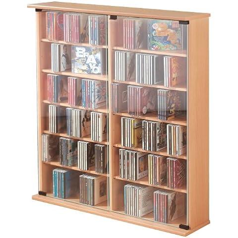 VCM Roma - Torre para CD/DVD, para 300 CDs,  color Haya, dimensiones 92x60x18 cm