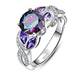 Bonlavie 3.6ct Rainbow Topaz Blue Sapphire Promise Wedding Band Engagement Ring 925 Sterling Silver
