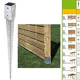 Einschlagbodenhülse 71x71x900mm Einschlaghülse Pfostenträger Bodenhülse Test