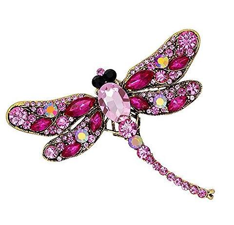 Qingsun Dragonfly Brooches Cute Rhinestones Crystal Corsage Collar Pins Gift Fashion Jewelry 6
