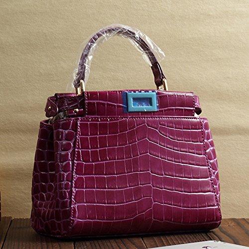 Mefly Neue Leder Handtasche Top Leder Mini Schulter Cross Bag Violet