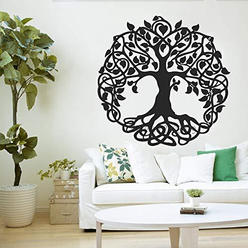wukongsun Hohe heilige Baum Wandtattoos Leben Baum Vinyl Aufkleber Wand oder Fenster Hauptdekoration großer Baum Yoga schwarz XXL 168cm x 165cm -