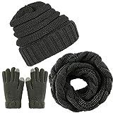 Aneco Winter Warm Strickschal Beanie Mütze und Handschuhe Set Herren & Damen Soft Stretch Mütze Schal und Handschuh Set (Dunkelgrau)
