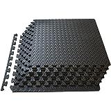 Prosource Discounts Inc Puzzle Exercise Mat High Quality Eva Foam Interlocking Tiles - Covers 24 Square Feet - Black