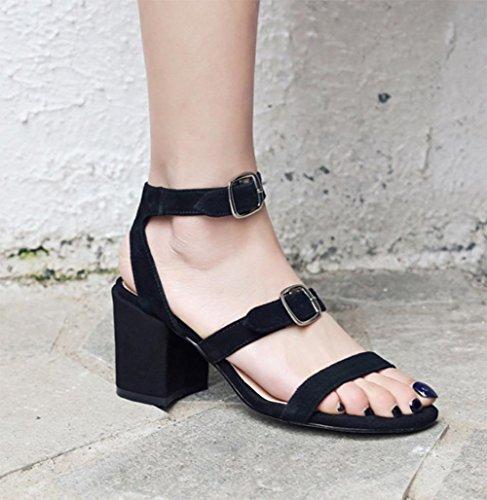 Frau Sommer Sandalen Wölbungsgurt offene Sandalen mit dicken hochhackigen Sandalen Frauen Black