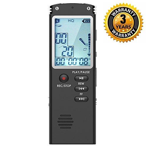 Digitales Diktiergerät,DREAMRY 8GB USB Audiorekorder mit MP3 Player, kleiner und tragbarer Soundrekorder mit HD-Aufzeichnung, Doppel-Mikrofon wiederaufladbares Diktiergerät für Vorträge - Schwarz