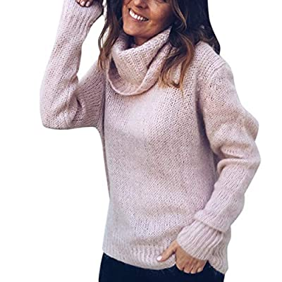 Leoie Women Mohair High-Necked Sweater Fashionable Pullover Top