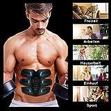 sakobs Muskelstimulator Bauchmuskeltrainer 2018 Muskelstimulation EMS Trainingsgerät mit 60 Stunden Akkulaufzeit/10 Intensitäten Muskeltraining zur Fettverbrennung und Muskelaufbau - 7