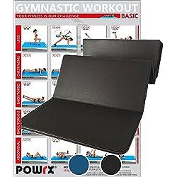 POWRX - Esterilla de Yoga y Pilates Plegable, 180 cm, sin PVC, Disponible en Color Azul o Negro