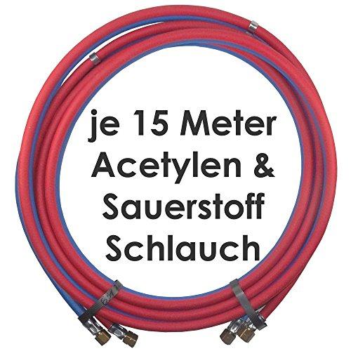 Acetylen Sauerstoff Gasschlauch Zwillingsschlauch 15 Meter - Profi Gummischlauch zum autogen schweißen oder schneiden - Semperit Profiqualität von Gase Dopp