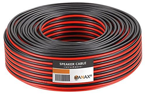 Manax SC2250RB-50 Lautpsrecherkabel 2x2,50 mm² CCA (Boxenkabel/Audiokabel), Ring 50 m, Rot/Schwarz