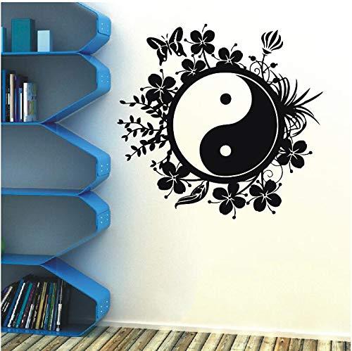 inesischen Stil Vinyl Aufkleber Tai Chi Philosophie Butter Blume Schlafzimmer Wohnzimmer Haus Dekoration Dekor 42 * 48 cm ()