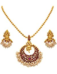 JFL - Traditional Ethnic Temple Lord Ganesha One Gram Gold Plated Stone Designer Pendant Set With Pearls For Women...