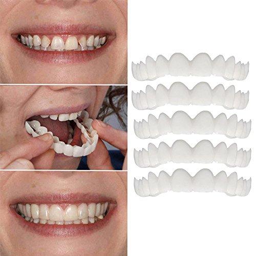 Holeider Perfect Sofort Smile Zahnersatz Komfort Fit Flex Comfort Kosmetische Zähne Prothese Zähne Top Bottom Kosmetische Furnier Zahnfurnier Simulationsklammern Zahnmedizinische Schönheit (5 Stück Tops)