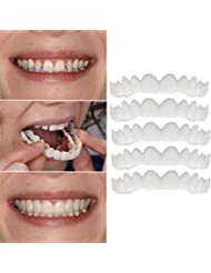 Kashyk 5 PC Teeth Top Veneer, Temporary Teeth Whitening, Disguise Crooked/Stained/Missing Gapped Teeth Cover The Teeth Free-Wearing Beauty Cosmetic Smile (White)