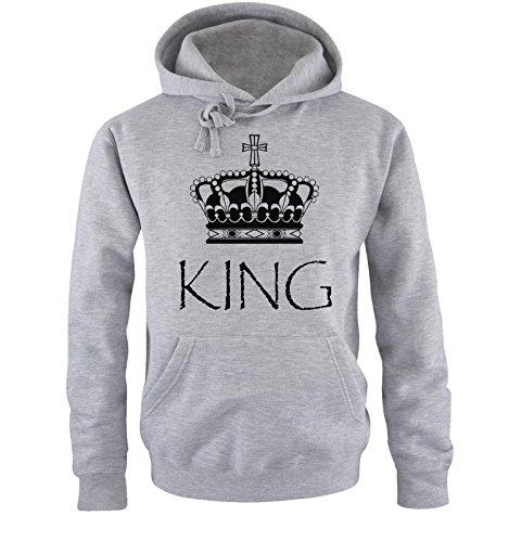 *Comedy Shirts – KING – Herren Hoodie – Grau / Schwarz Gr. M*