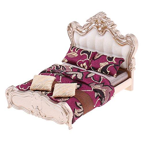 Magideal letto matrimoniale giocattoli modello miniatura bed camera da letto casa arredamento - c-107