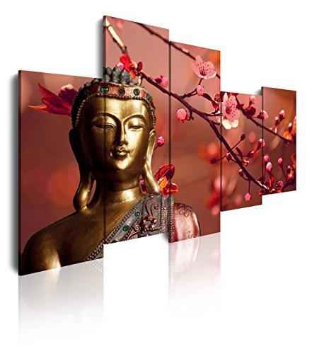 DEKOARTE 113 - Cuadro Moderno en Lienzo de 5 Piezas, Estilo Zen-Feng Shui Buda Dorado con Rama Cerezo, 150x100cm