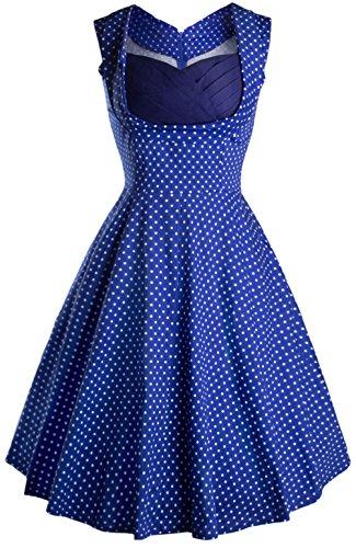 Wenseny Damen Kleid Retro Mode Ärmellos Polka Dots Party Kleid Schwingen Cocktailkleider Blau